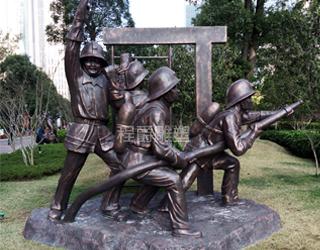 园林仿古铜消防人物雕塑